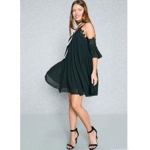 After Market Lace Trim Pleated Cold Shoulder Dress